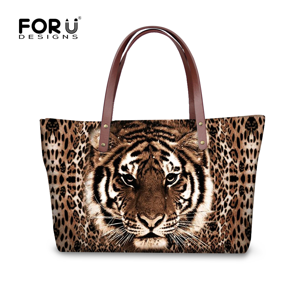 FORUDESIGNS Winter Leopard Handbag Tote 3D Tiger Women Shoulder Bags Fashion Hand bag Ladies Luxury Famous Brand Purse Bolsa B