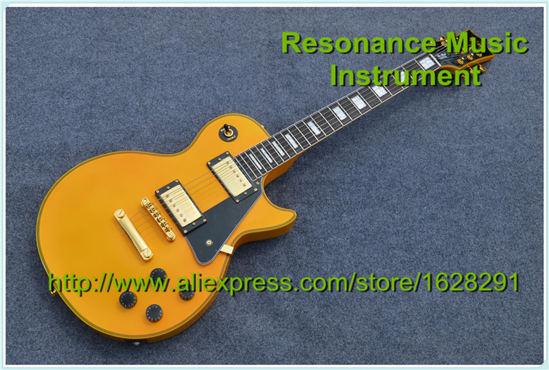 Newest Arrival Custom Guitar Electric LP Model Yellow Finish Body Neck Binding & Logo Left Handed Available new arrival acrylic plexiglass lp china guitar electric clear guitar body puc style pickup lefty custom available