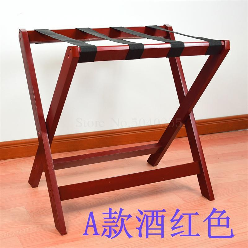 Solid wood luggage rack hotel floor folding racks home bedroom put sleep clothes simple shelves - Цвет: VIP 3