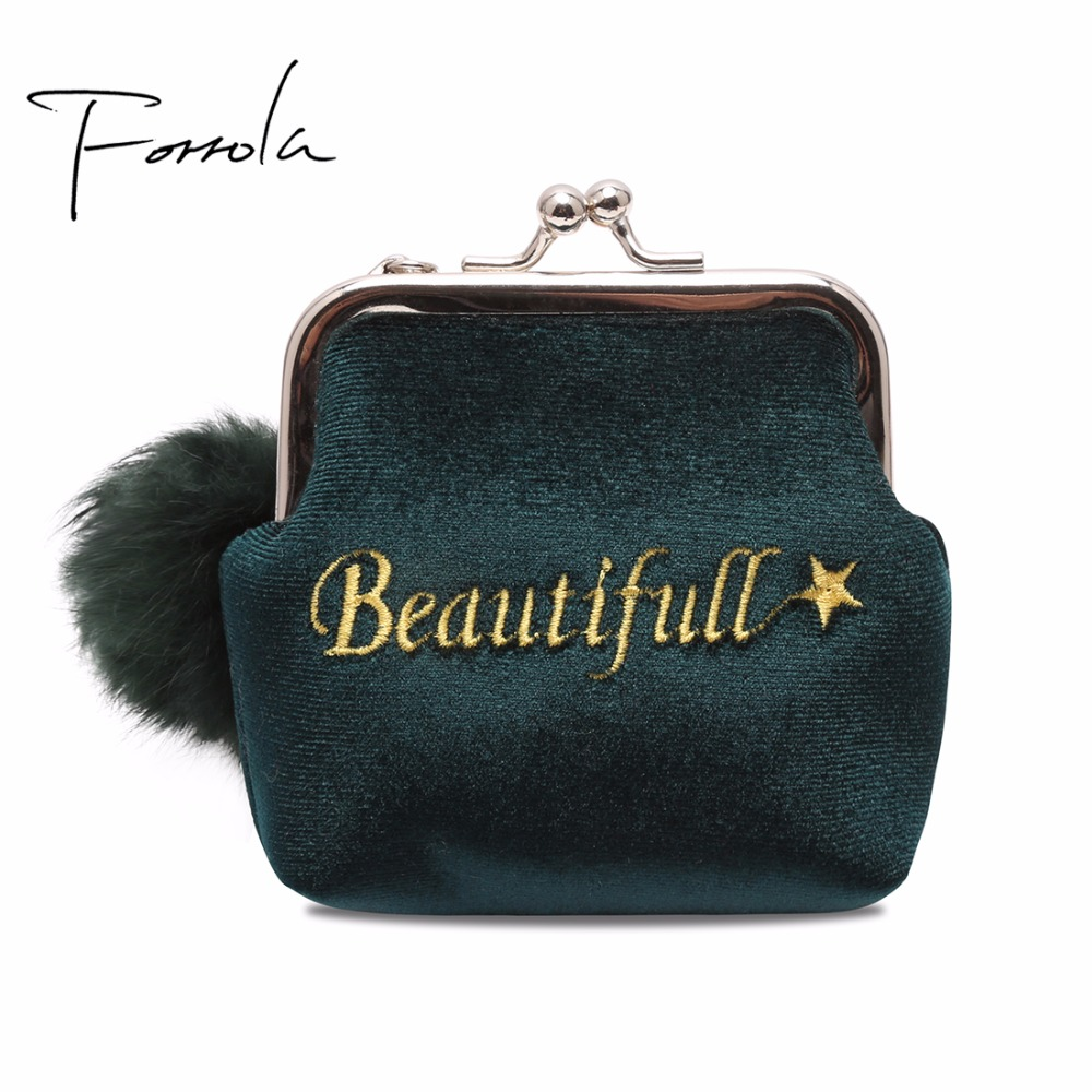 Fashion Women Velvet Lovely Small Wallet Cute Fur Ball Lady Daily Use Travel Hasp Retro Kids Mini Bags Soft Coin Purse For Girls