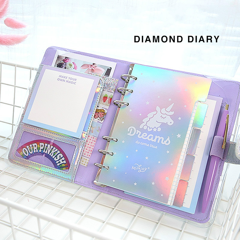 JUGAL Kawaii DIY Agendas Notebook A6 Spiral Diary Planner Note Paper Organizer Note Book Girls Fichario Traveller Journal
