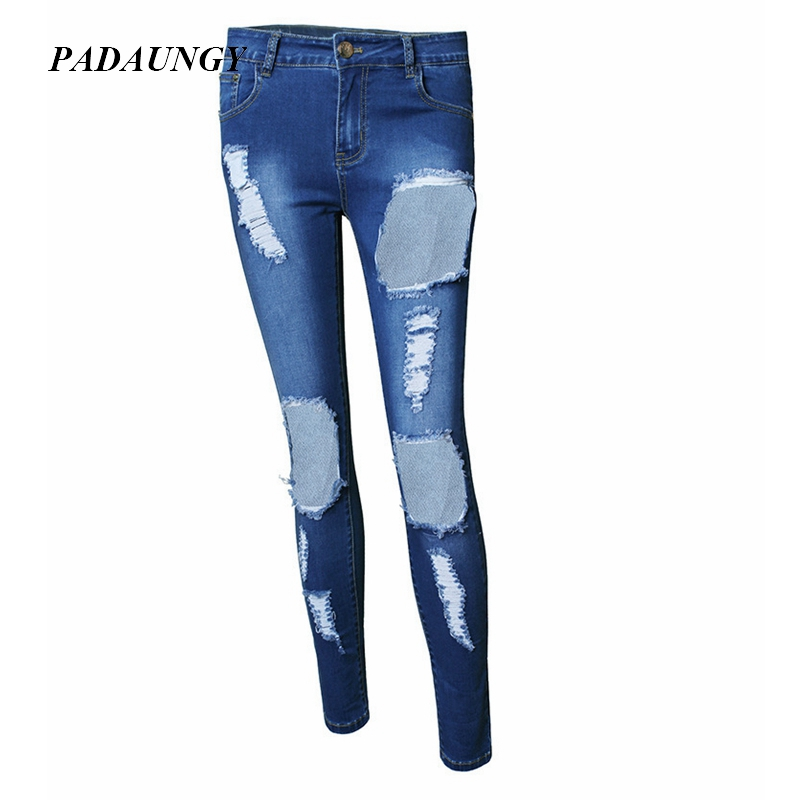 PADAUNGY Ripped Jeans For Women High Waist Hole Boyfriend Jegging Plus Size Denim Torn Female Pantalon Femme Jardineira Feminina 2017 ripped boyfriend high waist jeans for women torn cool denim vintage straight pockets hole bleached washed jeans femme