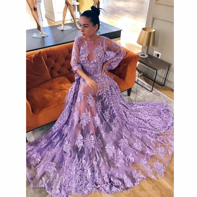 d56cc0d10e1ac Modern Lace Lavender Prom Gown Butterfly Sleeve Backless Long Tulle Evening  Gown Floor-Length Fluffy Fashion Dresses Custom Made