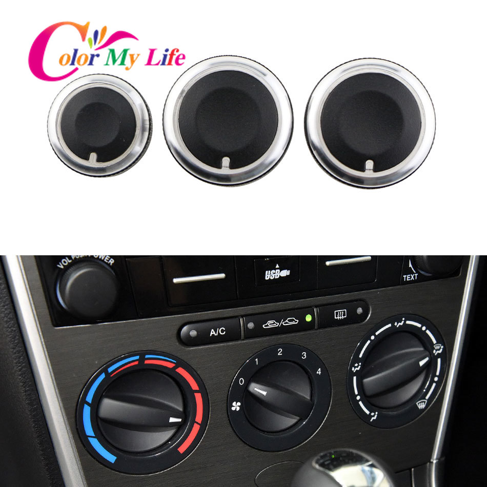 FOR MAZDA 6 M6 2004 2009 SWITCH KNOB KNOBS HEAT HEATER CONTROL BUTTONS DIALS FRAME RING A/C AIR CON COVER 2006 2005 2007 2008-in Car Stickers from Automobiles & Motorcycles