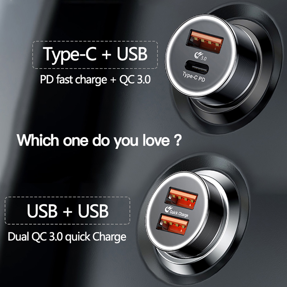 Baseus Small Screw Type-C [CAXLD-A01] Car Charger Pakistan brandtech.pk