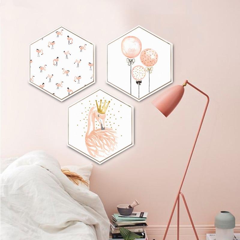 Style nordique Flamants Roses ballon rose Décoratif peintures Simple et moderne salon Hanging photos plume peintures murales