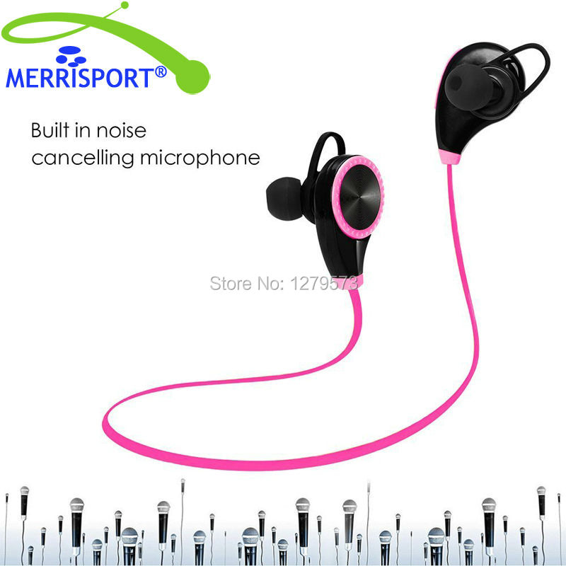 Bluetooth 4.0 Noise Cancelling Earphones Waterproof Sport Running Wireless Earphones Earbuds with MIC for Iphone Samsung Pink