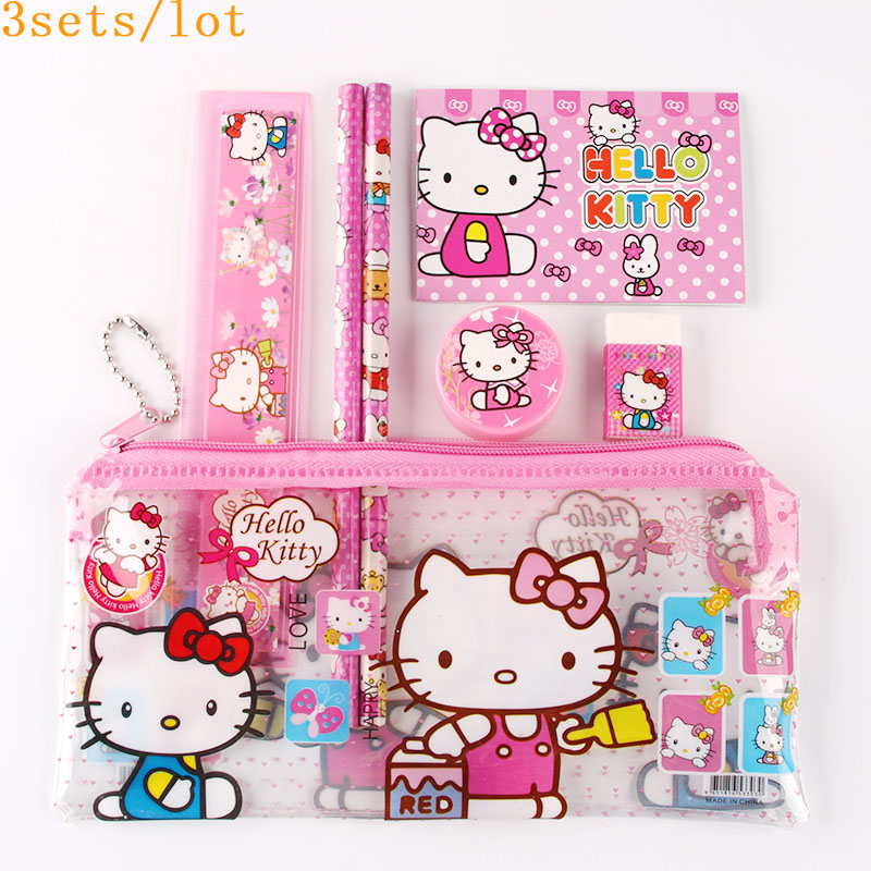 цена на 3sets/lot hello kitty pencil case for kids sticker cute cartoon school supplies stationery kawaii pencil cases for girls gift