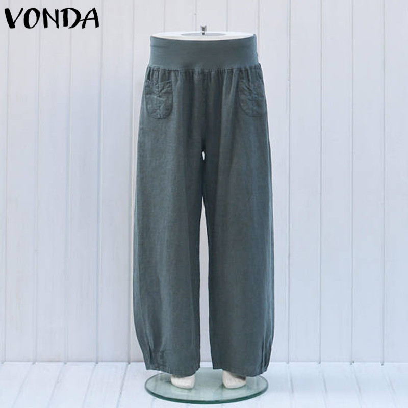 Women   Wide     Leg     Pants   2019 Summer Female Casual Cotton Trousers Fashion Elastic Waist Vintage Loose Solid Bottoms Plus Size