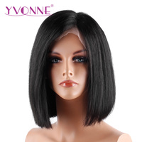 YVONNE Short Lace Front Human Hair BOB Wigs Brazilian Virgin Hair 180 Density Natural Color Free