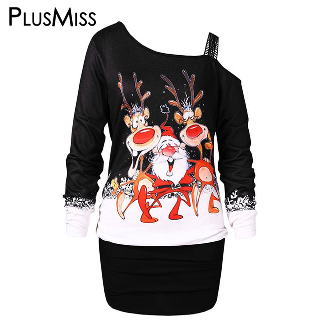 f4ef009112f PlusMiss Plus Size 5XL Christmas Elk Printed Long T Shirts XXXXL XXXL XXL Women  Big Size Sexy Long Sleeve One Shoulder Tops Tees