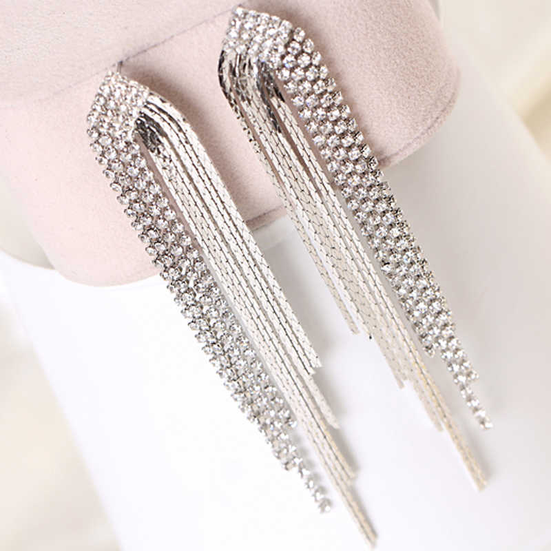Italian Design Super-long Rhinestone Tassel Earrings Sliver Chain Drop Earrings Women Party Gift Best Sell Free Shipping E097