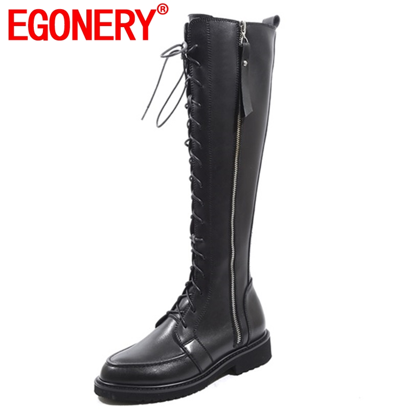 EGONERY 2018 new concise casual round toe genuine leather med square heel women shoes winter warm cross-tied zip knee high bootsEGONERY 2018 new concise casual round toe genuine leather med square heel women shoes winter warm cross-tied zip knee high boots