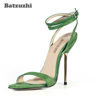 Batzuzhi Super Sexy 12 4cm Thin Iron Heels Women Sandal Shoes Candy Colors Buckle Strap Summer