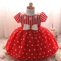 Fashion red and white striped dot hem baby girl dresses birthday party and wedding easter infant dresses