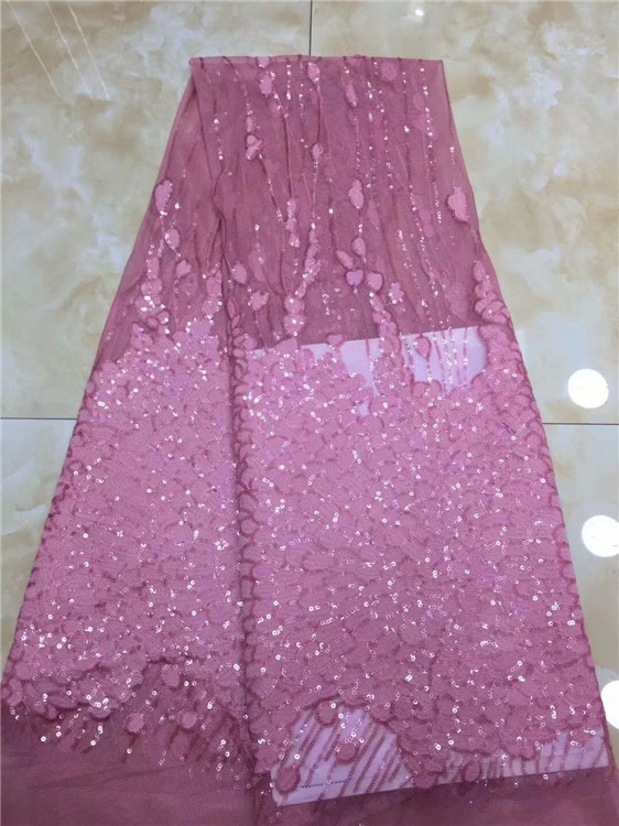Luxury african lace fabric high quality pink purple french guipure lace new arrival sequins lace fabric for party dress pfd1213