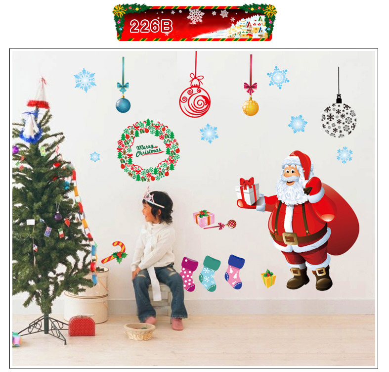 Large Santa Christmas Tree Wall Decals DIY Merry Christmas Wall Stickers Decorations For Home Shop Window Decor Removable