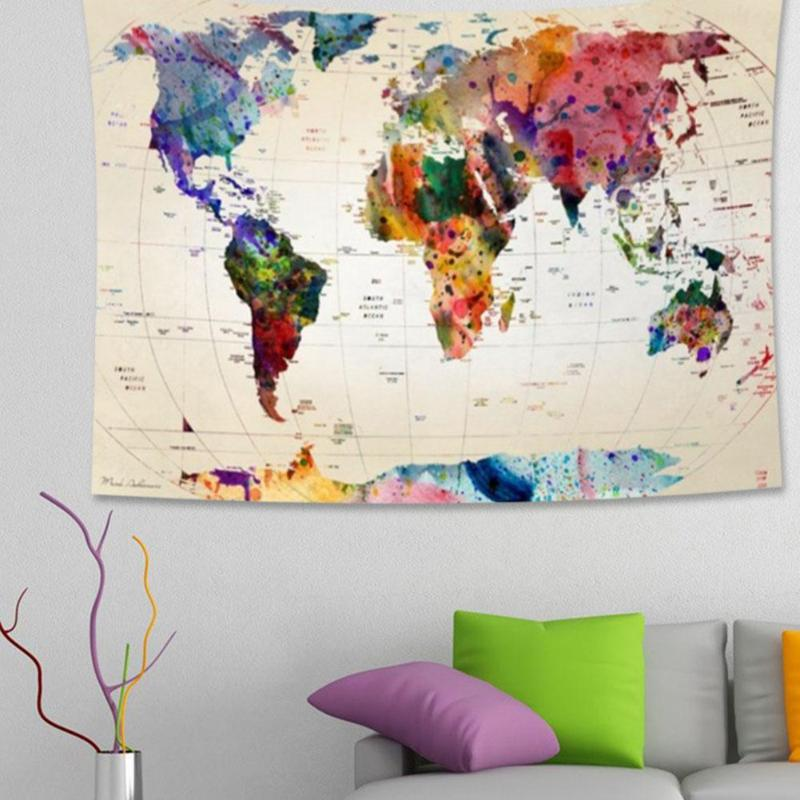 150x130cm World Map Tapestry Wall Hanging Carpet Picnic Yoga Mat Beach Towel World Map Poster Stickers Home Decoration ...