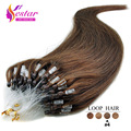On sale micro loop ring human hair extensions straight #4 indian remy hair 0.5g/pcs no shedding no tangle Loop Hair