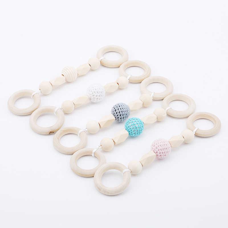 Baby Teether Beech ไม้แหวนถักลูกปัดไม้สร้อยข้อมือ Rattle Toyes Dental Care อุปกรณ์เสริมเด็กเล่นของเล่น Montessori