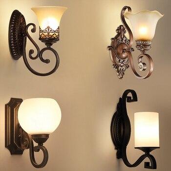 Европейский художественный винтажный настенный светильник для гостиной, домашнего освещения, стеклянные светодиодные настенные бра аранд...