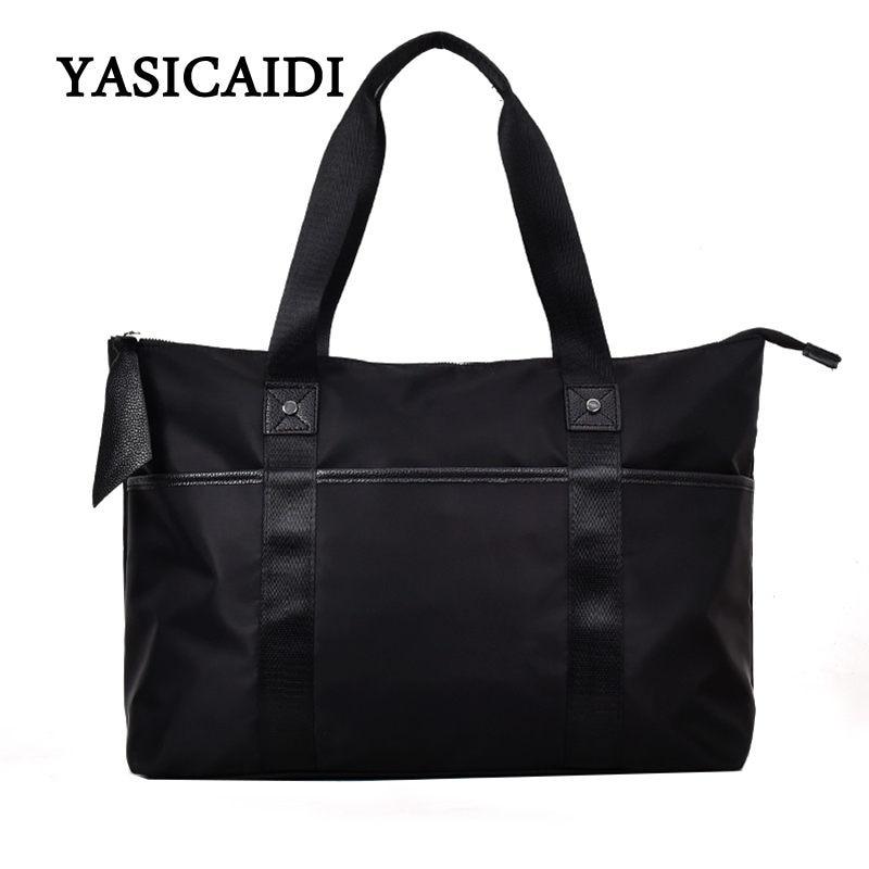 2018 Female Travel Bags Black Tote Shoulder Travel Bag Portable Handbags Big Weekend Bag Oxford Women Waterproof Duffle Bag