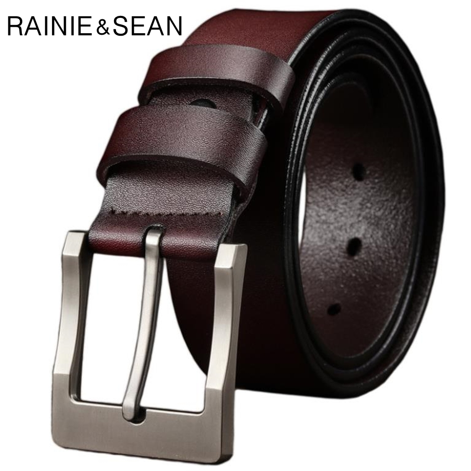 RAINIE SEAN Pin Buckle Belt For Trousers Man Waist Belt Leather Brown Black Casual Genuine Leather Jeans Belts For Men 125cm