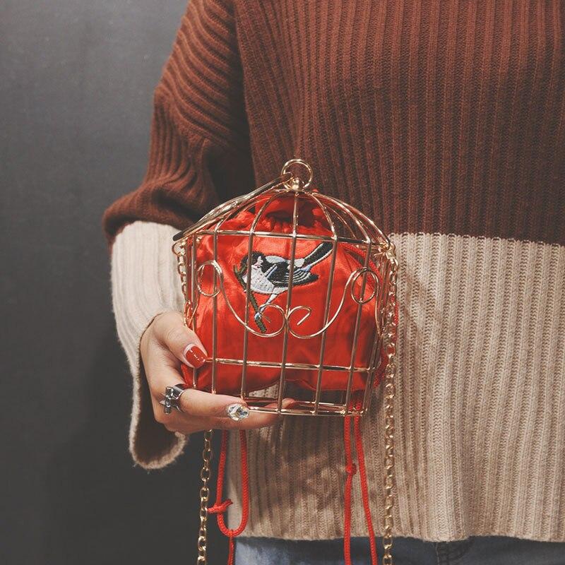 Design Womens Birdcage Evening Bag Clutch Metal Frame Embroidery Bucket Mini Bag Purse Women Gold Tassel Handbag Female Bags 00