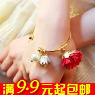 Free shipping!!! 4pairs/lot sweet flower owl pearl bangles