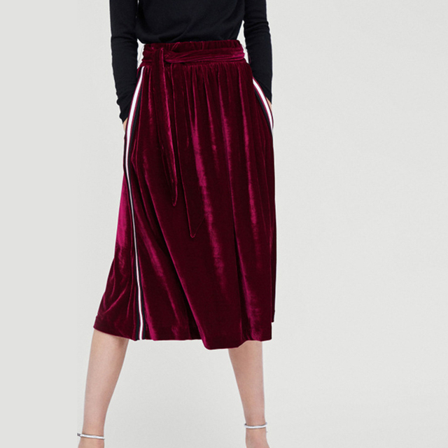 recognized brands preview of casual shoes US $16.79 40% OFF|Women's High Waist Velvet Pleated Skirt Drawstring Bow  Tie Mid Calf Skirts Solid Side Striped Autumn Winter Female Skirts-in  Skirts ...