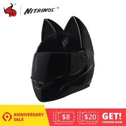 NITRINOS мотоциклетный шлем женская личность мотошлем черный шлем полный уход за кожей лица Moto шлем модный мотоциклетный шлем