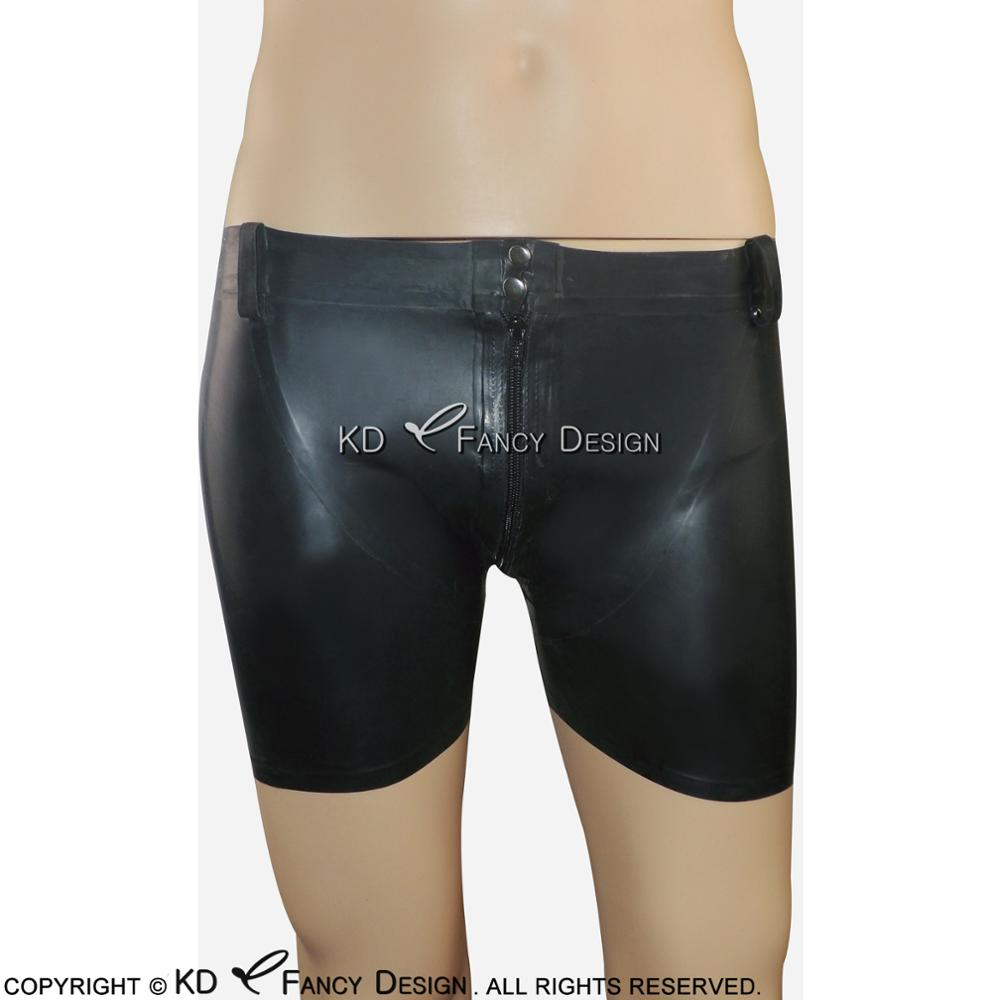 Black Sexy Latex Boxer Shorts With Zip And Buttons At Front Rubber Underpants DK-0079