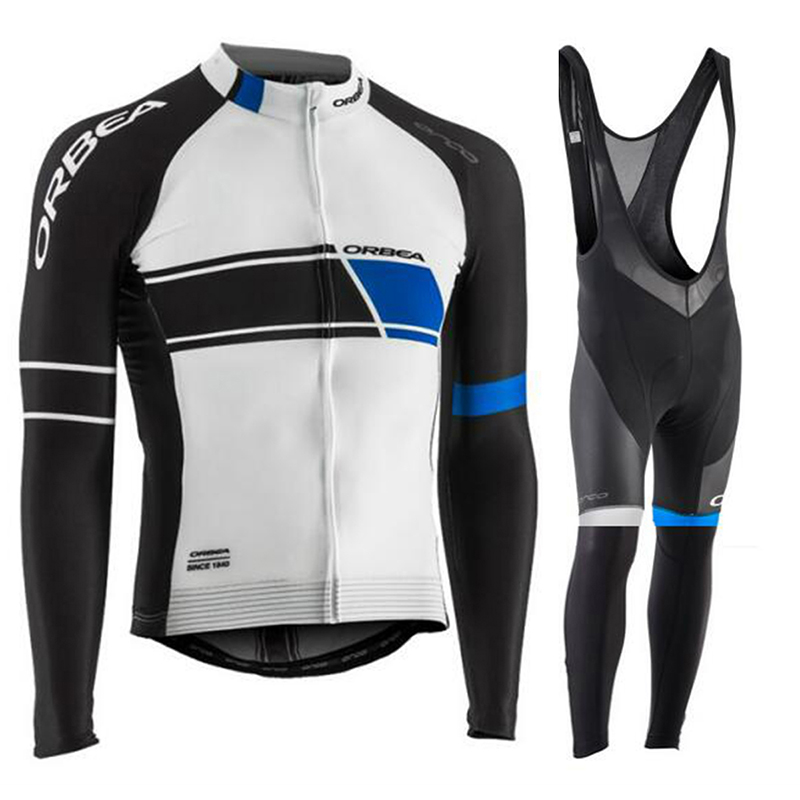 2017 Pro Team Mens Autumn Cycling Jersey Men Cycling Jersey Sets Men Riding Wear Bike Cycling Shorts Men Cycling Clothing White