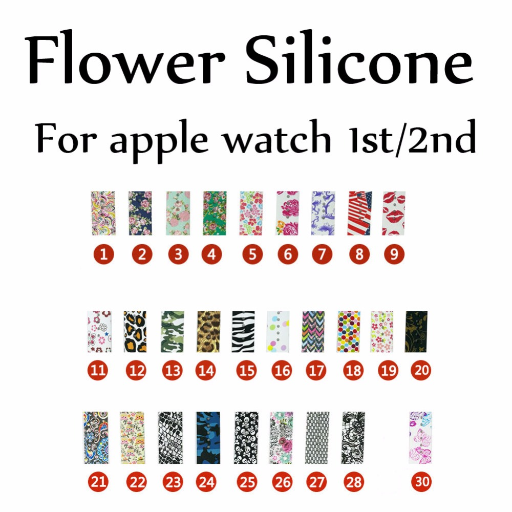 Colorful Butterfly Flower Skull Sports Silicone Strap for Apple Watch Band Bracelet for iWatch Series 1/2 42mm 38mm Wristband