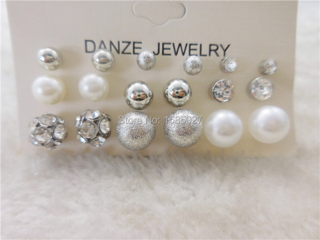 Women Fashion Classic Crystal Stud Earrings Set 12 pairs
