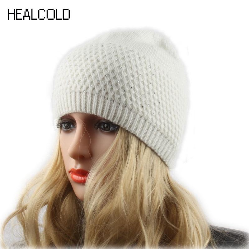 Women's Hat Rhinestone Uld Strikket Hue til Damer Vinter Forår Beanie Hat Kvinde Cap Skullies