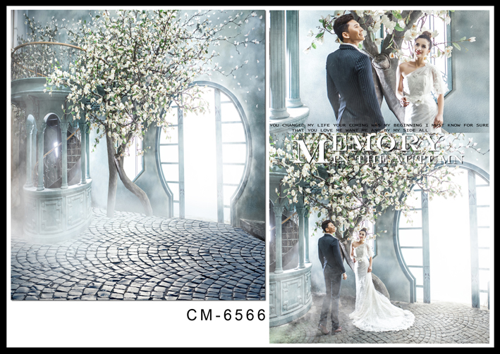 Fairy Wedding Photography Backdrops White Flower Tree Background Brick Floor Bright Light Windows Photo Backdrop Custom Wedding