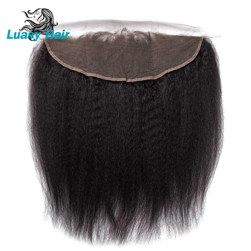 Luasy Remy brasileño pelo recto rizado encaje cierre Frontal con pelo de bebé oreja a oreja prepluck 13X4 cierre de encaje grueso Yaki