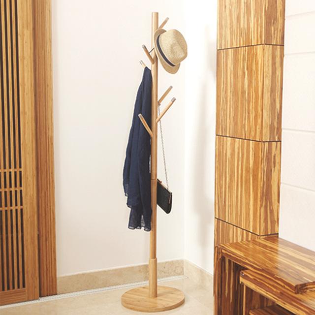Lanskaya Simples Criativo Moderno Quarto Piso Rack de Roupas Cabide de Bambu Mobiliário de Qualidade Cabide Cabides De Madeira