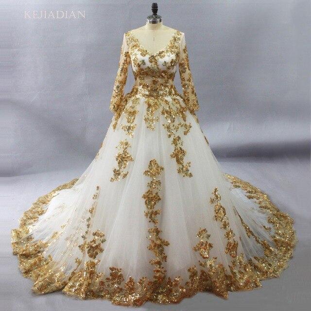 فساتين زفاف رائعة بيضاء مسلمة مع الدانتيل الذهب زينة فستان زفاف طويل الأكمام vestido de noiva لبنان رداء دي ماري