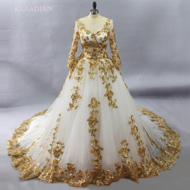 Gorgeous White Muslim Wedding Dresses With Gold Lace Liques Bridal Gown Long Sleeves Vestido De Noiva