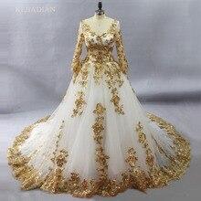 Muhteşem beyaz müslüman gelinlik ile altın dantel aplikler gelin kıyafeti uzun kollu vestido de noiva lübnan Robe De Mariee