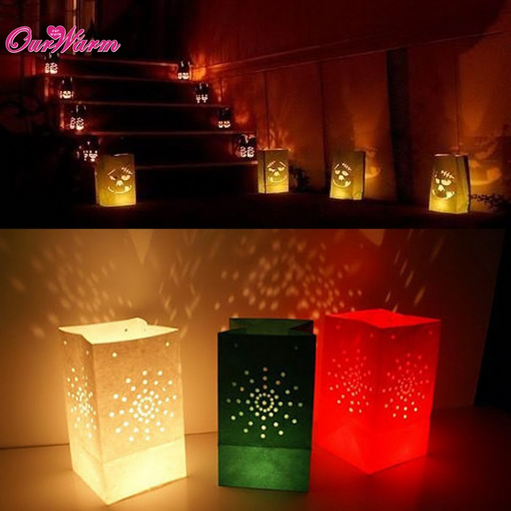 White paper lanterns with lights - Online Shop 100pcs Lot Luminaria Paper Lantern Lamp Candle Bag Valentine Day Home Outdoor Marriage Decoration Tea Light Aliexpress Mobile