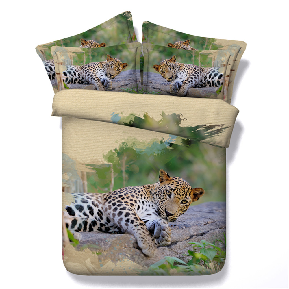 Leopard On The Tree Resting Duvet Cover Animal Bedding Set 3/4PC Cotton Bed Clothes Twin/Queen/Super King Size Bedding PackageLeopard On The Tree Resting Duvet Cover Animal Bedding Set 3/4PC Cotton Bed Clothes Twin/Queen/Super King Size Bedding Package