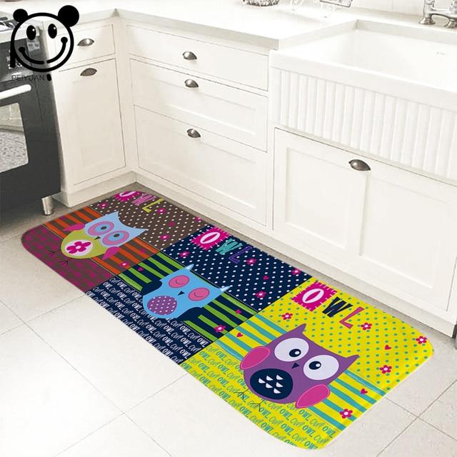 PEIYUAN Welcome Indoor Doormat Print Colorful Cartoon Owl and Brar ...