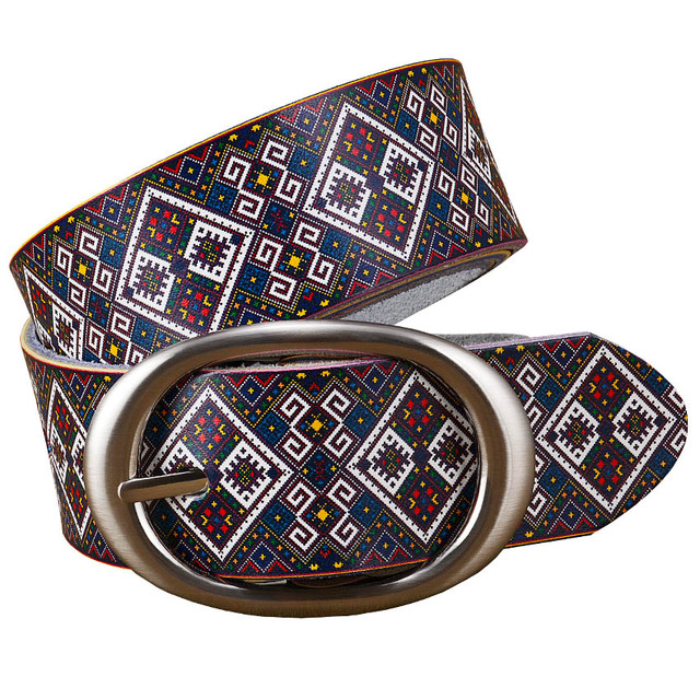 Fashion Genuine leather belts for women Quality Printing Plaid Wide belt woman Pin buckle girdle cowskin strap female for jeans 1