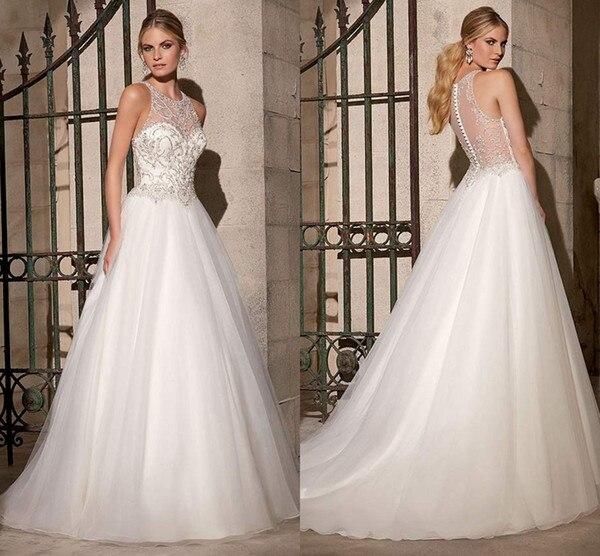 A Line White Tulle Wedding Dress 2017 Arabic Bridal: Elegant A Line Tulle White Long Wedding Dresses 2017