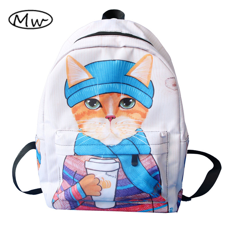 Moon Wood Cartoon Fun 3D Animal Cat Printing Backpack Large Capacity School Bags For Girls Boys Book Bag Laptop Backpack Mochila
