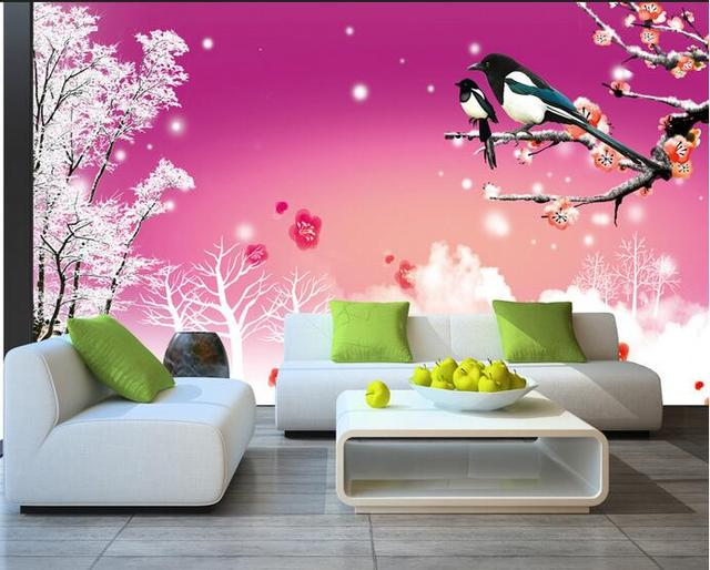 3d room wallpaper custom mural non woven wall sticker plum blossom ...