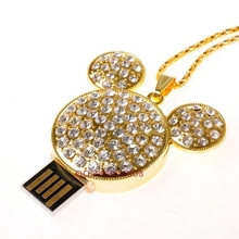 Jewelry USB Flash Drive 64GB Diamond Mickey Pendrive USB Flash Disk Necklace USB Flash Drive 32GB Memory Stick Gift Pen Drive